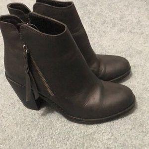 Black heeled fall booties